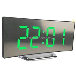 Night Light Alarm Clock Digital LED Green Display Battery Operated Mirror NEW