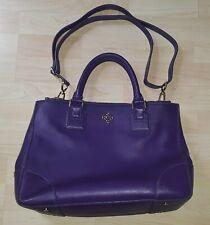 Authentic TORY BURCH Purple Leather Satchel HandBag Purse with Shoulder Strap
