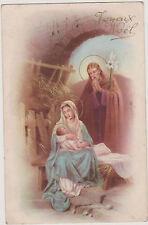 CARTE POSTALE RELIGIEUSE JOYEUX NOEL- LA CRECHE - MARIE/JOSEPH ET JESUS