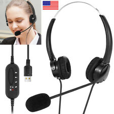USB Wired Computer Headset Over Ear Headphones for Call Center PC Laptop Skype