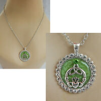 Celtic Claddagh Heart Pendant Necklace Handmade Green NEW Chain Silver Women
