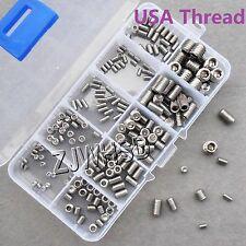 200pcs Stainless USA Thread Cup Point Grub Screw UNC UNF Allen Hex Socket Set