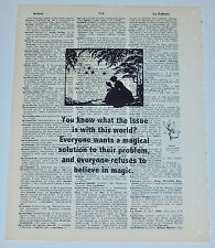 Lewis Carroll SCREENPRINT QUOTE VTG ANTIQUE Encyclopedia PAGE UNFRAMED FOLK ART