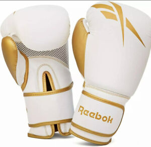 ✅Reebok Sport Fighting Boxing Gloves - Gold/White 14OZ/L Ships 🔥 Fast