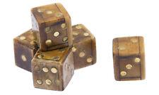 3x Bone Würfel 1,5 cm Horn mit Messingaugen 3 Stück 5916