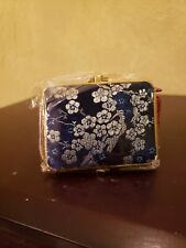Two Sided Padded Silk Embroidered Make-up Mirror Compact ~ Deep Blue ~ New in Pk