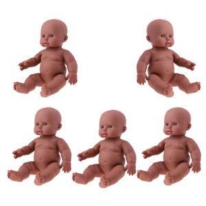 "5PC Lifelike Vinyl Reborn 12"" African American Baby Doll - Bath Sleeping Toy"