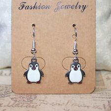 Cute mini Penguin enamel silver earrings