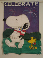 Peanuts Snoopy Woodstock Celebrate large 28x40 applique sculpted Flag July 4th