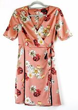 New Look Wrap Front Dress Dusty Pink Sateen Floral Print Short Sleeves Blogger 8