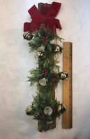 VTg Mid-Century Plastic Christmas Holly Berry Gold Jingle Bells Wood Door Decor