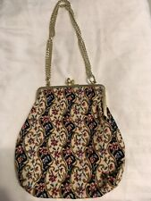 Vtg Delill Womens Purse Floral Tapestry Bag Vintage Metal Snap & Chain