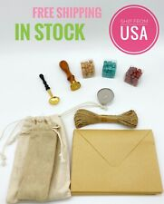Retro View Ancient Sealing Wax Stamps Wooden Handle Craft Wax Seal Stamp DIY Set