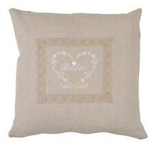 Clayre & Eef Pillowcase Pillow Cover Heart Crochet Border Linen Shabby Chic