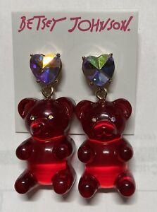 Betsey Johnson Christmas Festive Red Gummy Bear Drop Earrings