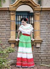 Womens One Size Fits Most Top & Skirt Dress Mexican Folkloric Fiesta Dance New