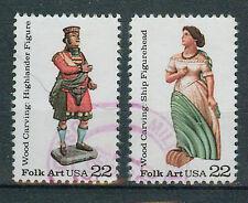 Briefmarken USA 1986 Geschnitzte Holzfiguren Mi.Nr.1852+53