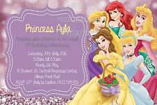 Belle Princess Cinderella Girls Birthday Invite Invitation Party Ariel Rapunzel