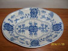 "Large 10"" Blue  White Footed Chinese Vegetable Dish Bowl Porcelain No Mark"
