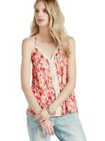 Lucky Brand - Women's M - NWT$49 - Red & Orange Ikat Print Crochet Tank Top
