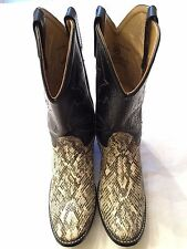 Vintage ACME Faux Snakeskin Leather Cowboy Western Boot Black White Womens 5.5