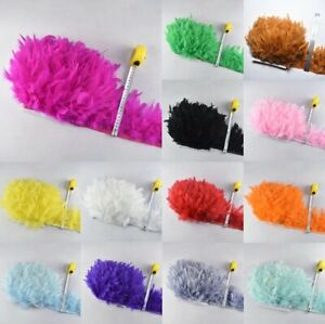 1 Meter Fluffy Turkey Feather Trimmings Trim Cloth Clothing Decoration Costume