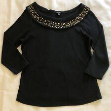 Rafaella Shirt  Women Size L Black Top Stud Embellish Boat Neck 3/4 Sleeve Work