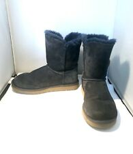 UGG Bailey Button Ankle BOOTS Women's 10 BLUE Shearling Sheepskin 5803