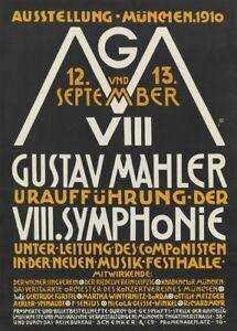Gustav Mahler World Premier 8th Symphony, 1910 Art Nouveu Classical Music Poster
