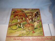 Antique Wood   Jigsaw Puzzle  farm theme horse has makers mark unknown ??