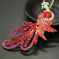 Red Peacock Betsey Johnson  Pendant Necklace K41