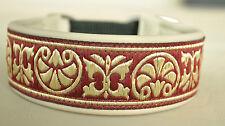 Windhundhalsband/Hundehalsband echt Leder mit rot/goldener Bordüre Handarbeit