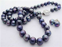 """Jewelry Nature 7-8mm Black Akoya Cultured Pearl Necklace Earrings Set 18"""""""