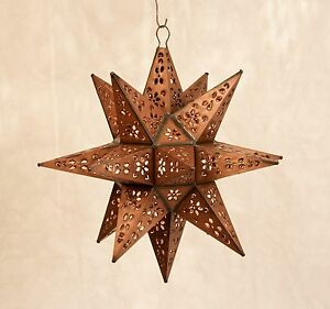 "Tin Moravian Star Pendant Light, 20"", 14"" or 8"", 4 Finish Options"