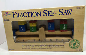 Rare Vintage Tumbletree Wood Toys Educational Fraction Seesaw 14 Pieces