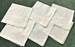 "6 White Organza Square Embroidered Dinner Cloth 17x17"" Napkins"