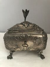 Austrian Silver Sugar Box With Key Art-Nouveau Floral Motif
