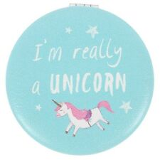 New Blue with Pink Unicorn I'm Really a Unicorn Personal Compact Mirror