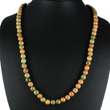 AWESOME STUNNING 253.20 CTS NATURAL UNTREATED BLOOD GREEN UNAKITE BEADS NECKLACE