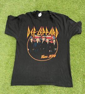 2014 DEF LEPPARD US Tour T Shirt Black Mens Size L