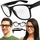 Clear Lens Black Frame Unisex Glasses NERD GEEK Classic Retro Vintage Style New