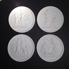 Royal Copenhagen White Bisque Porcelain Plaques - Four Seasons of Life 1958