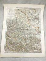 1899 Antique Map of Germany Saxony Duchy of Anhalt Original 19th Century GERMAN