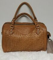 Langellotti Satchel Tote Woven Real Leather Bag Handbag Brown Made In Italy NWT