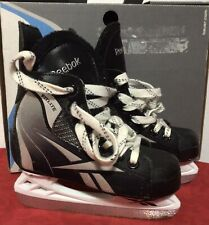 Reebok Fitlite Ice Hockey Skates Size 12J Youth Child Boys Black Euc Free Ship