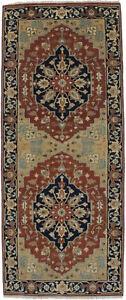 Heriz Serapi Hand-Knotted Oriental Runner Rug 4X10 Kitchen Decor Hallway Carpet