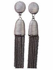 Luxurious Long Hanging Metallic Dangle Tassel Drop Earrings in Gunmetal Silver