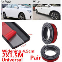 New 2pcs 4.5cm/1.5M Car Fender Flare Extension Wheel Eyebrow Trim Protector Lip