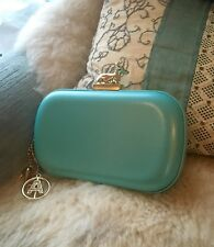 Anna Dello Russo at h&m turquoise blue clutch evening bag purse with gold charms