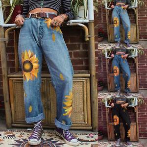 Women Pants Mom Jeans Sunflower Printed Loose Trousers Ladies Casual Slacks New